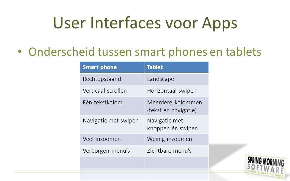User Interfaces voor Apps Onderscheid tussen smart phones en tablets