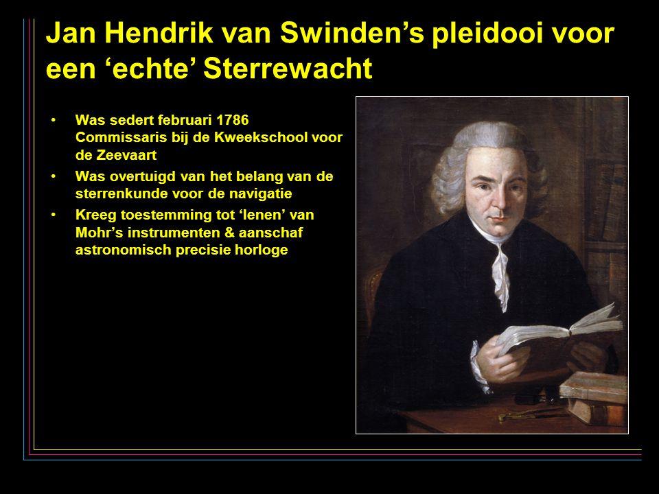 13 Jan Hendrik van Swinden's pleidooi voor een 'echte' Sterrewacht Was sedert februari 1786 Commissaris bij de Kweekschool voor de Zeevaart Was overtuigd van het belang van de sterrenkunde voor de navigatie Kreeg toestemming tot 'lenen' van Mohr's instrumenten & aanschaf astronomisch precisie horloge