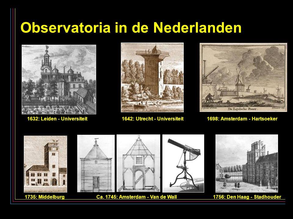 20 Observatoria in de Nederlanden 1632: Leiden - Universiteit 1642: Utrecht - Universiteit 1698: Amsterdam - Hartsoeker 1735: Middelburg Ca.