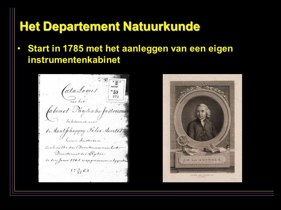 3 Het Departement Natuurkunde Start in 1785 met het aanleggen van een eigen instrumentenkabinet