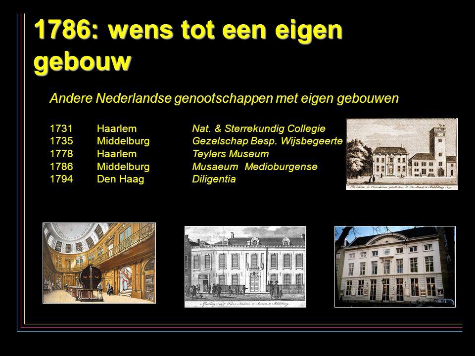 7 1786: wens tot een eigen gebouw Andere Nederlandse genootschappen met eigen gebouwen 1731Haarlem Nat.
