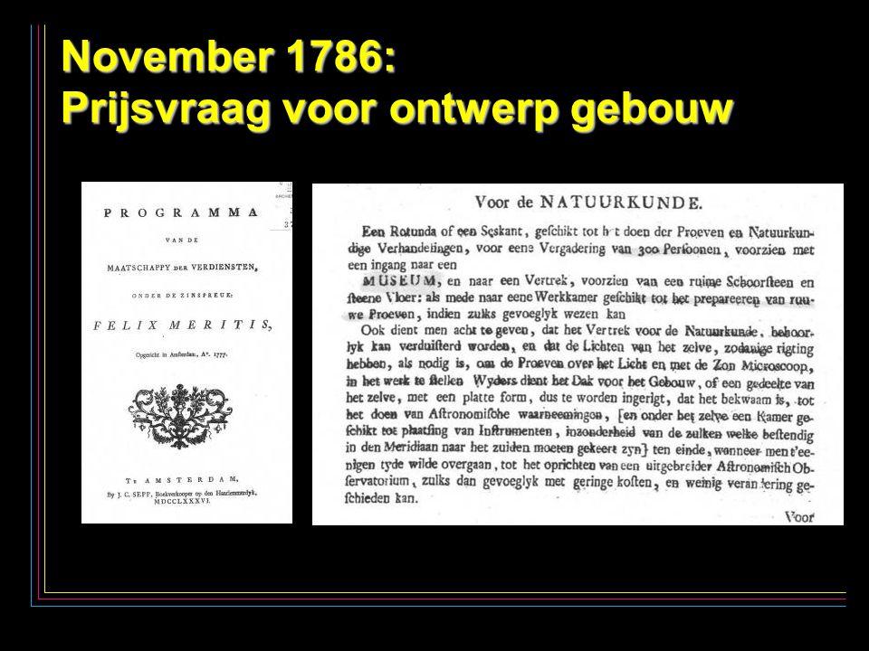 8 November 1786: Prijsvraag voor ontwerp gebouw