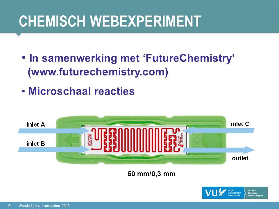 CHEMISCH WEBEXPERIMENT 17Woudschoten 1 november 2013 online opgenomen sessie Reactor: webcam1webcam1 Controller: webcam2webcam2 Product: webcam3webcam3 Handleiding