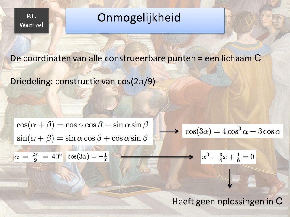 De coordinaten van alle construeerbare punten = een lichaam C Driedeling: constructie van cos(2π/9) Onmogelijkheid P.L. Wantzel Heeft geen oplossingen