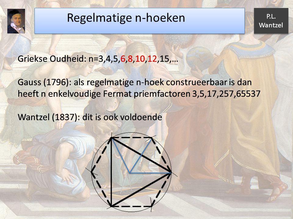 Regelmatige n-hoeken P.L. Wantzel Griekse Oudheid: n=3,4,5,6,8,10,12,15,… Gauss (1796): als regelmatige n-hoek construeerbaar is dan heeft n enkelvoud