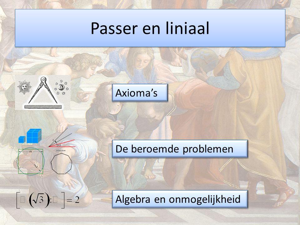 Passer en liniaal De beroemde problemen Algebra en onmogelijkheid