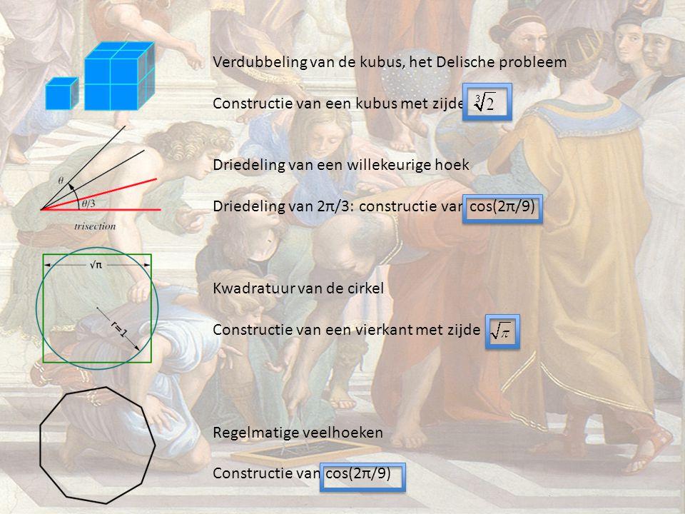 Verdubbeling van de kubus, het Delische probleem Constructie van een kubus met zijde Driedeling van een willekeurige hoek Driedeling van 2π/3: constru