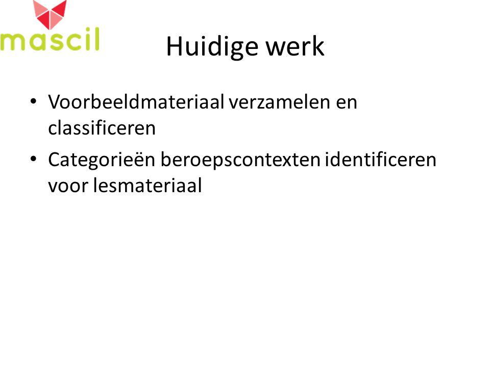 Huidige werk Voorbeeldmateriaal verzamelen en classificeren Categorieën beroepscontexten identificeren voor lesmateriaal