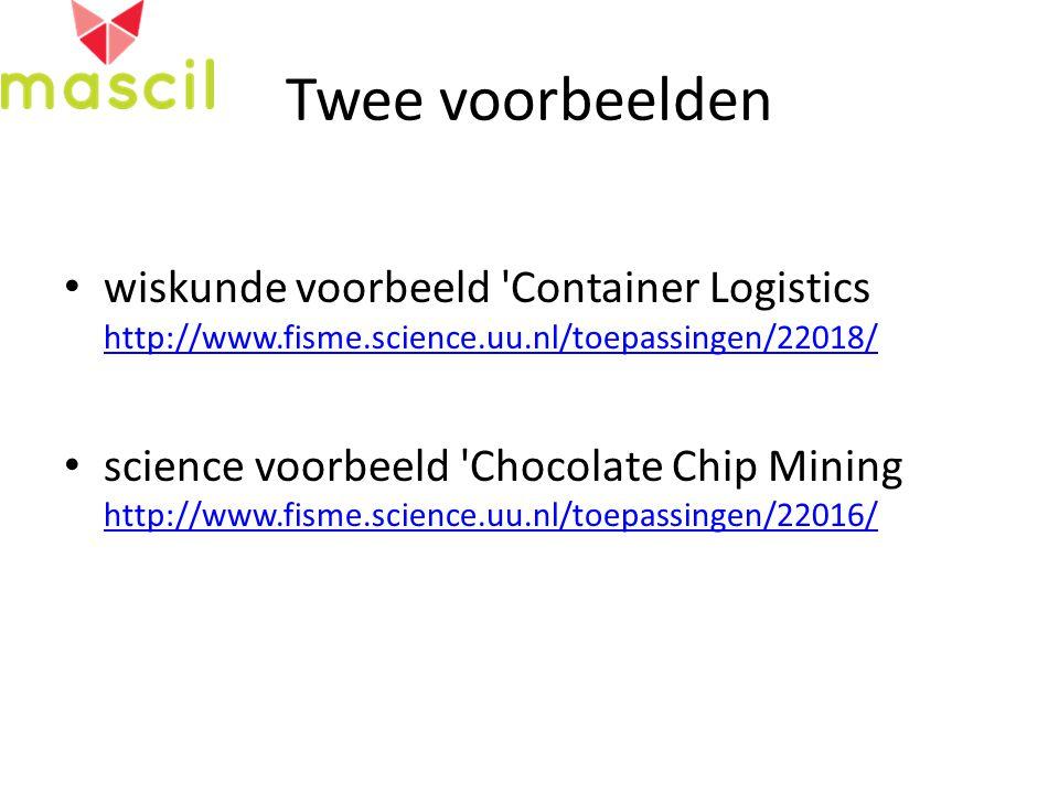 Twee voorbeelden wiskunde voorbeeld Container Logistics http://www.fisme.science.uu.nl/toepassingen/22018/ http://www.fisme.science.uu.nl/toepassingen/22018/ science voorbeeld Chocolate Chip Mining http://www.fisme.science.uu.nl/toepassingen/22016/ http://www.fisme.science.uu.nl/toepassingen/22016/