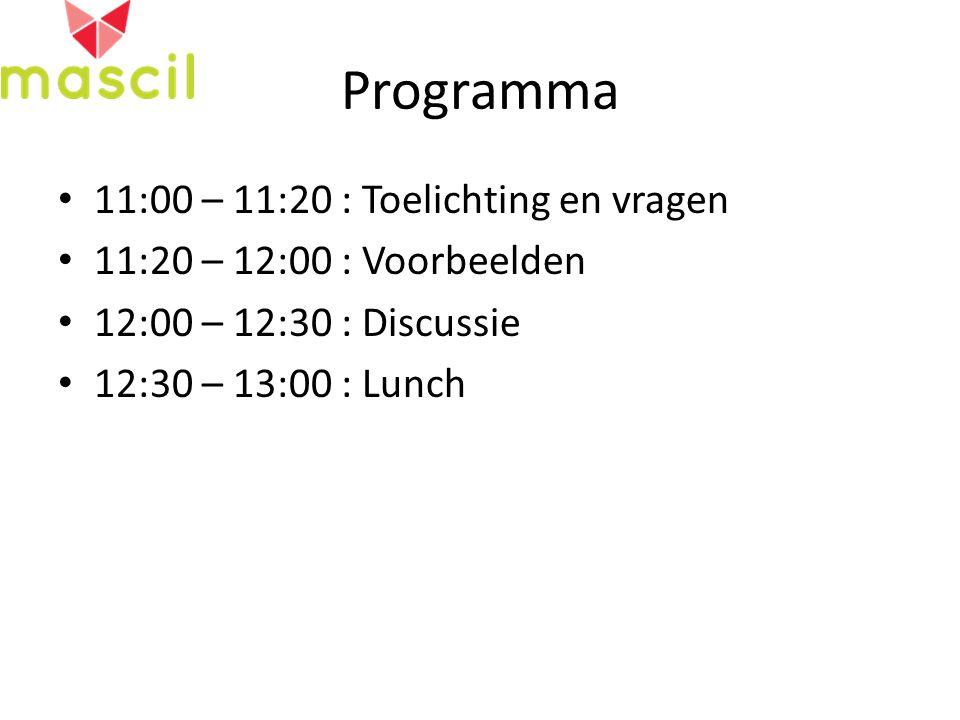 Programma 11:00 – 11:20 : Toelichting en vragen 11:20 – 12:00 : Voorbeelden 12:00 – 12:30 : Discussie 12:30 – 13:00 : Lunch