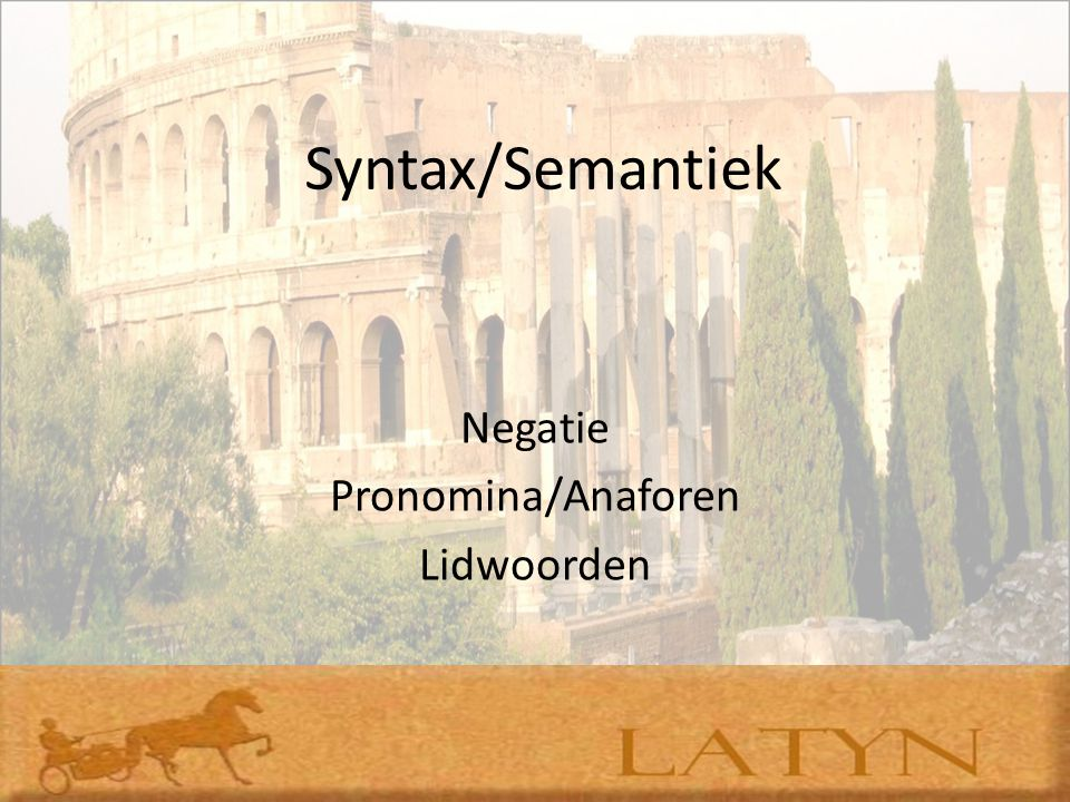 Syntax/Semantiek Negatie Pronomina/Anaforen Lidwoorden