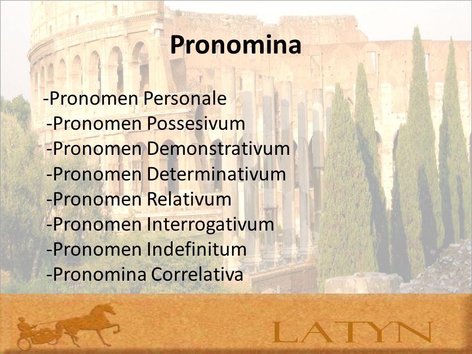Pronomina -Pronomen Personale -Pronomen Possesivum -Pronomen Demonstrativum -Pronomen Determinativum -Pronomen Relativum -Pronomen Interrogativum -Pro