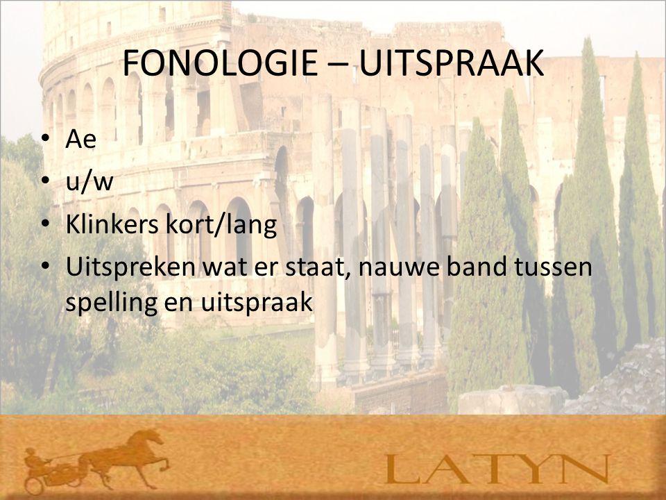FONOLOGIE – UITSPRAAK Ae u/w Klinkers kort/lang Uitspreken wat er staat, nauwe band tussen spelling en uitspraak