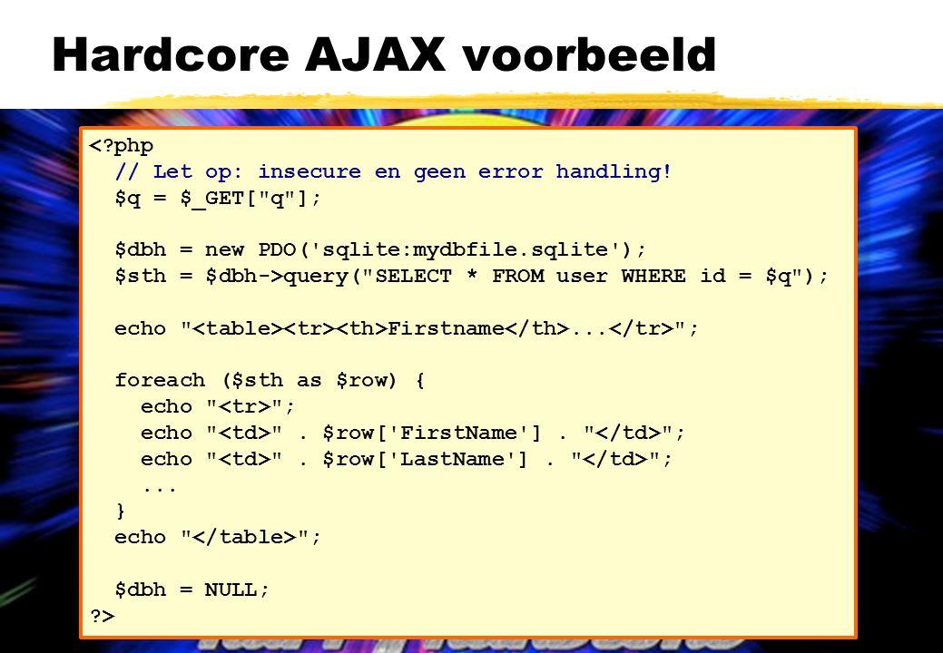 Hardcore AJAX voorbeeld a <?php // Let op: insecure en geen error handling.