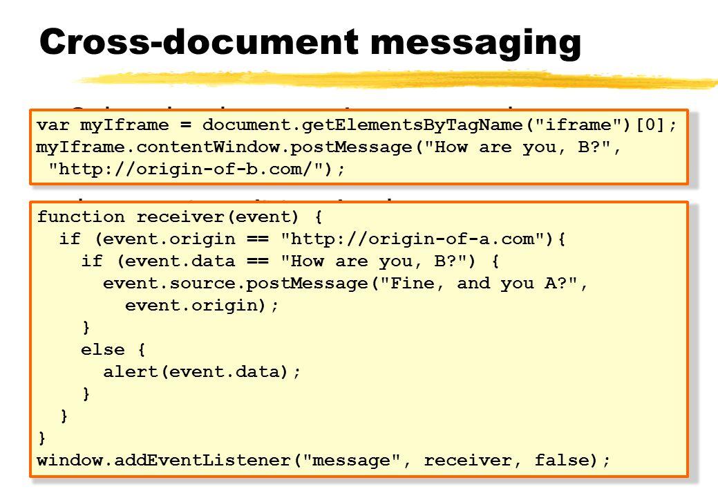 Cross-document messaging Ook wel web messaging genoemd HTML5 standaard om berichten met andere documenten uit te wisselen......zonder dat de SOP afgedwongen wordt Berichten, geen resources (CORS); client side.