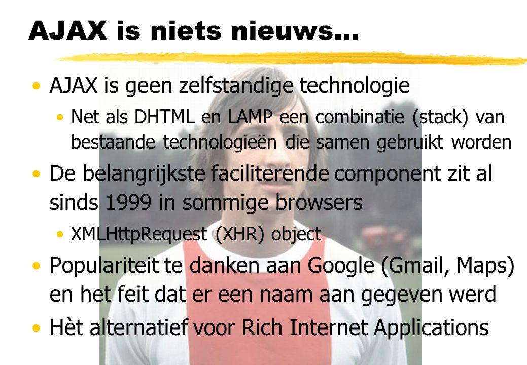 AJAX filosofie Webpages loosely coupled met data sources Rendering in HTML, one resource at a time AJAX herstelt deze band AJAX is de volwassen versie van DHTML DHTML + asynchrone gegevensuitwisseling Vergelijk: old skool Java Applets.