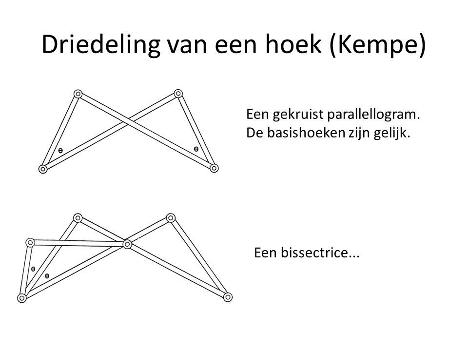 Driedeling van een hoek (Kempe) Een gekruist parallellogram. De basishoeken zijn gelijk. Een bissectrice...