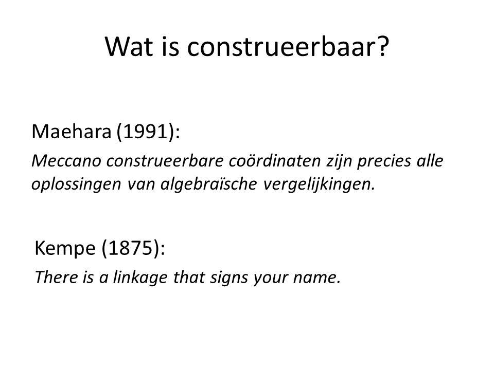 Wat is construeerbaar? Maehara (1991): Meccano construeerbare coördinaten zijn precies alle oplossingen van algebraïsche vergelijkingen. Kempe (1875):