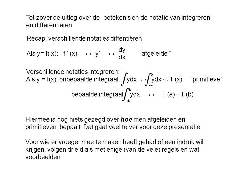 Tot zover de uitleg over de betekenis en de notatie van integreren en differentiëren Recap: verschillende notaties diffentiëren dy Als y= f( x): f ' (