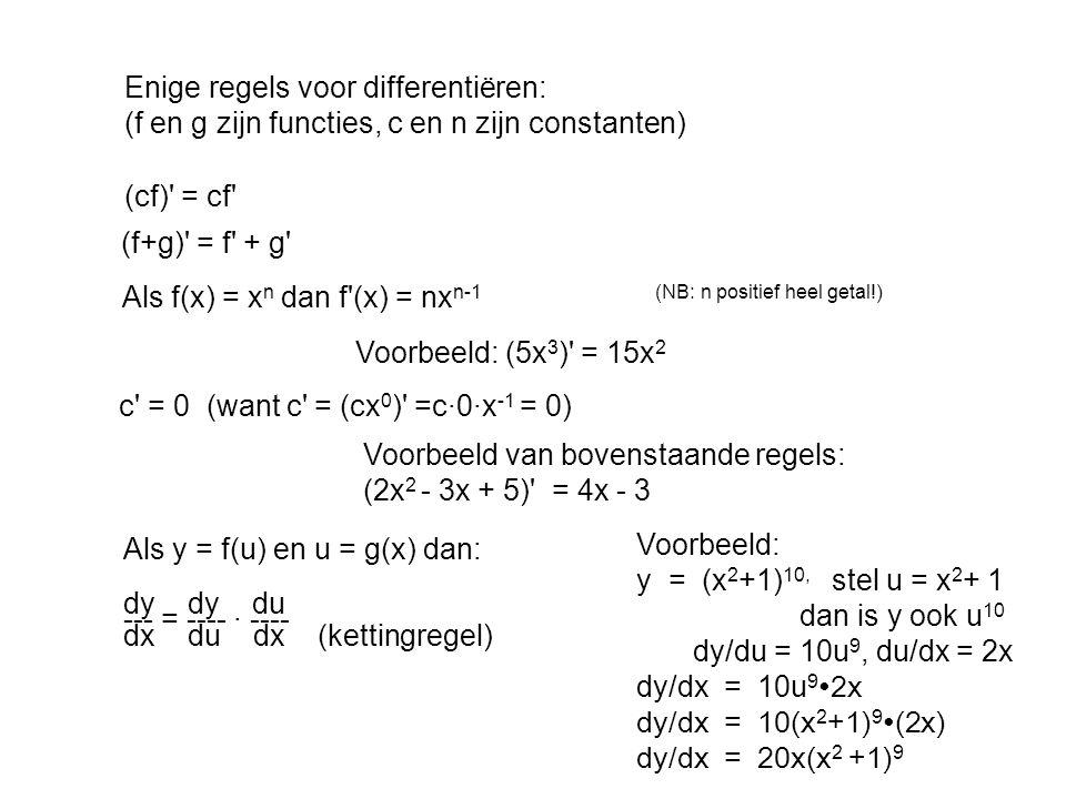 Enige regels voor differentiëren: (f en g zijn functies, c en n zijn constanten) (cf)' = cf' Als f(x) = x n dan f'(x) = nx n-1(NB: n positief heel get