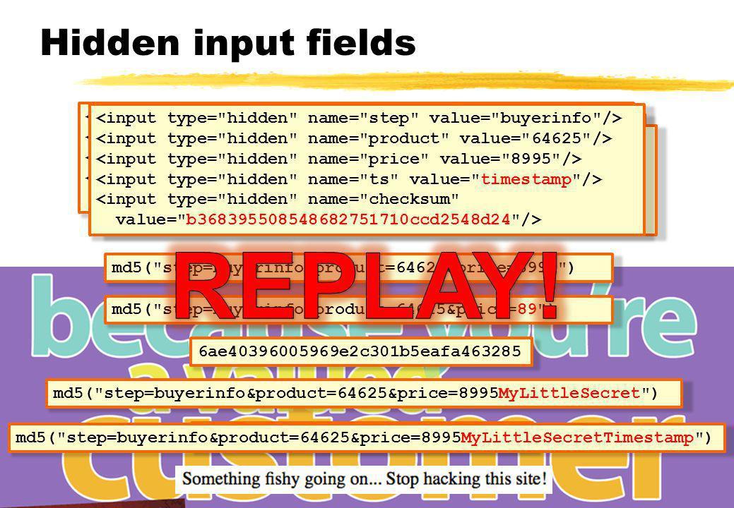Hidden input fields <input type=