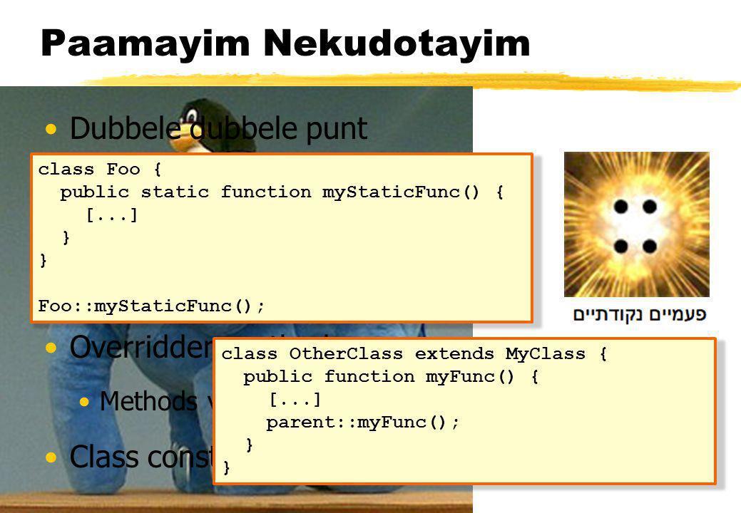 Functies op objecten function print_vars($obj) { $vars = get_object_vars($obj); foreach ($vars as $prop => $val) { echo $prop = $val\n ; } function print_methods($obj) { $methods = get_class_methods(get_class($obj)); foreach ($methods as $method) { echo function $method()\n ; }