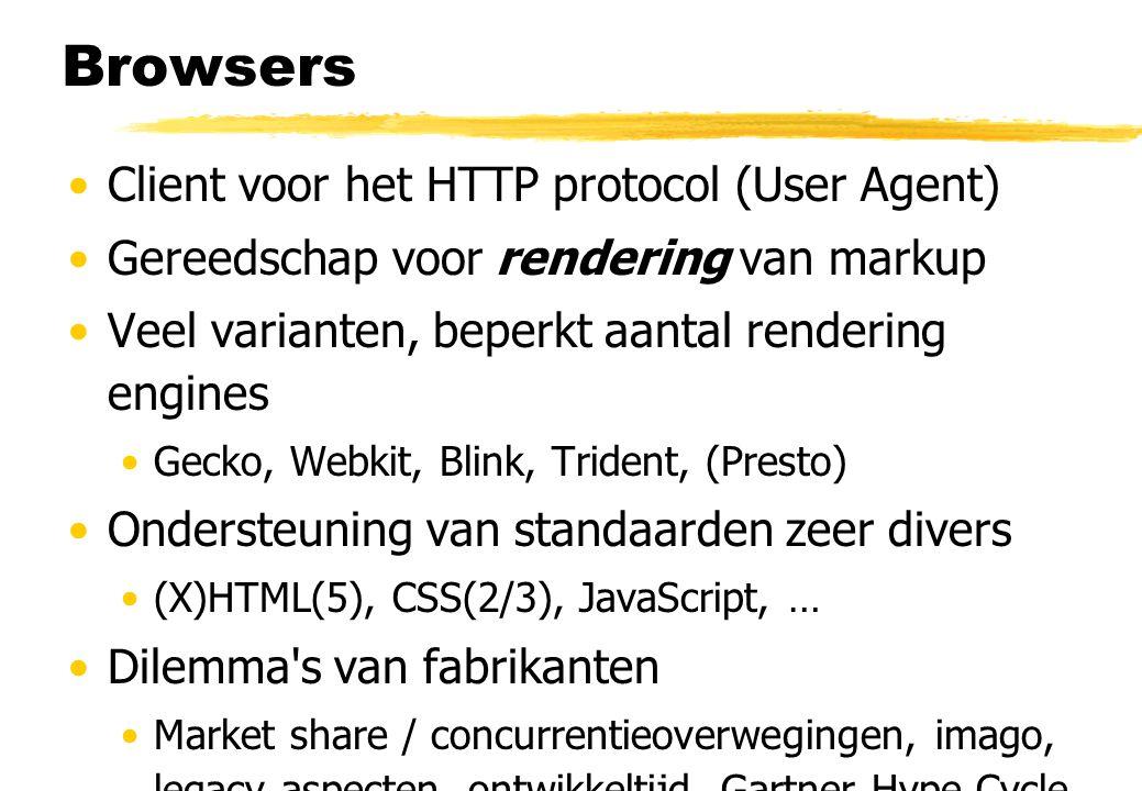 Browsers Client voor het HTTP protocol (User Agent) Gereedschap voor rendering van markup Veel varianten, beperkt aantal rendering engines Gecko, Webkit, Blink, Trident, (Presto) Ondersteuning van standaarden zeer divers (X)HTML(5), CSS(2/3), JavaScript, … Dilemma s van fabrikanten Market share / concurrentieoverwegingen, imago, legacy aspecten, ontwikkeltijd, Gartner Hype Cycle