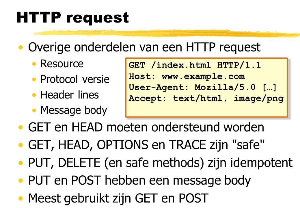 HTTP request Overige onderdelen van een HTTP request Resource Protocol versie Header lines Message body GET en HEAD moeten ondersteund worden GET, HEAD, OPTIONS en TRACE zijn safe PUT, DELETE (en safe methods) zijn idempotent PUT en POST hebben een message body Meest gebruikt zijn GET en POST GET /index.html HTTP/1.1 Host: www.example.com User-Agent: Mozilla/5.0 […] Accept: text/html, image/png