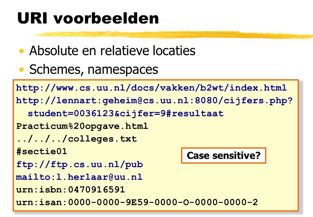 URI voorbeelden Absolute en relatieve locaties Schemes, namespaces http://www.cs.uu.nl/docs/vakken/b2wt/index.html http://lennart:geheim@cs.uu.nl:8080/cijfers.php.