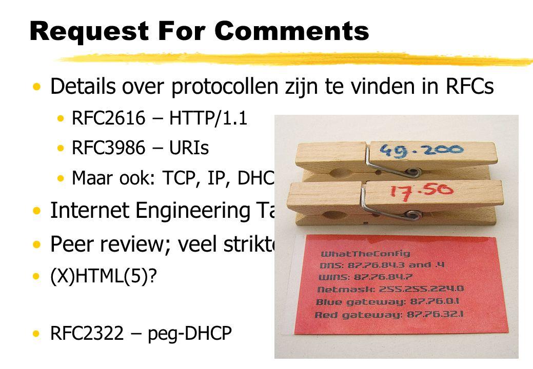Request For Comments Details over protocollen zijn te vinden in RFCs RFC2616 – HTTP/1.1 RFC3986 – URIs Maar ook: TCP, IP, DHCP, DNS, … Internet Engineering Task Force (IETF) Peer review; veel strikter dan het klinkt (X)HTML(5).