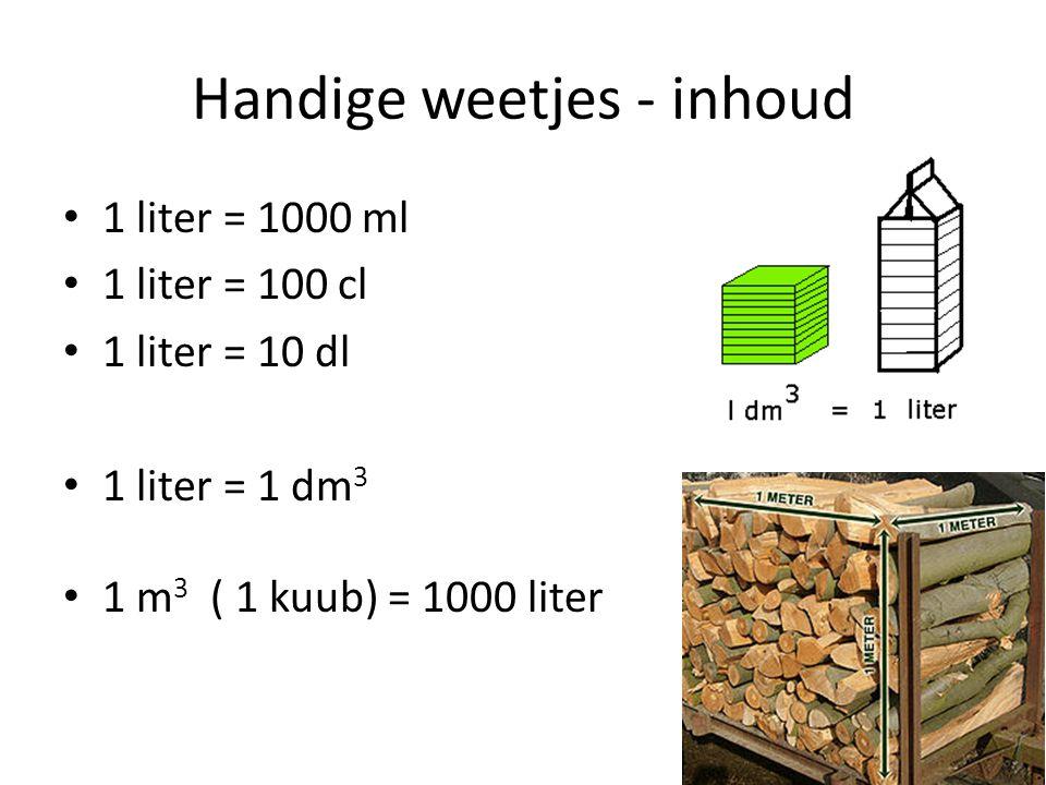 Handige weetjes - inhoud 1 liter = 1000 ml 1 liter = 100 cl 1 liter = 10 dl 1 liter = 1 dm 3 1 m 3 ( 1 kuub) = 1000 liter