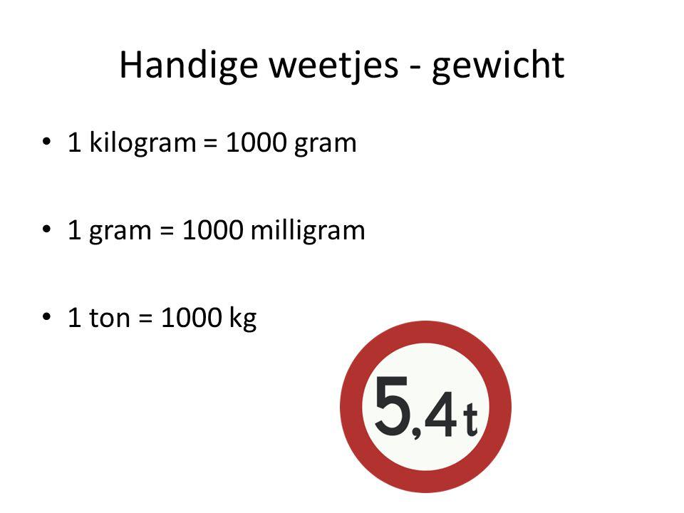 Handige weetjes - gewicht 1 kilogram = 1000 gram 1 gram = 1000 milligram 1 ton = 1000 kg