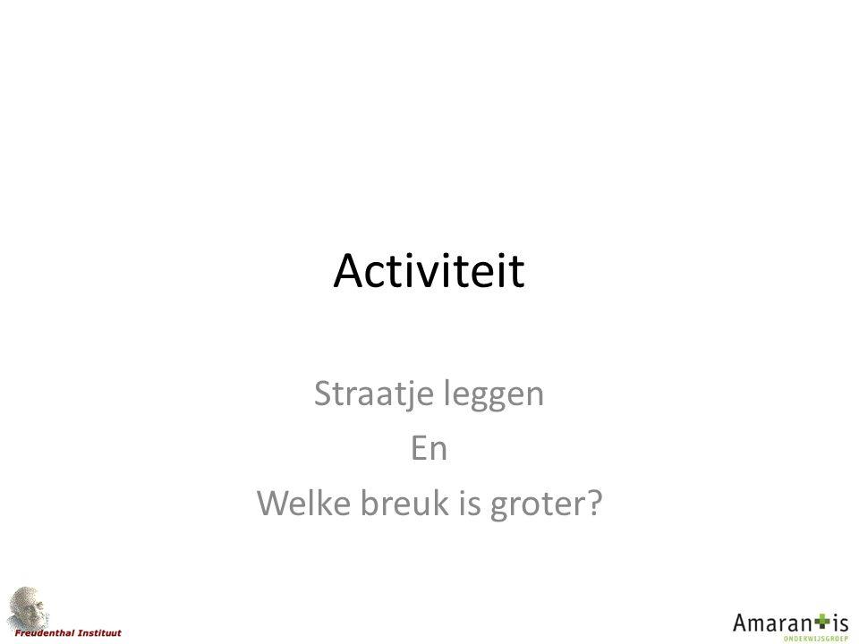 Activiteit Straatje leggen En Welke breuk is groter?