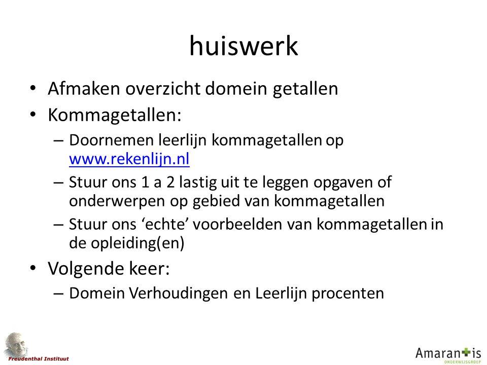 huiswerk Afmaken overzicht domein getallen Kommagetallen: – Doornemen leerlijn kommagetallen op www.rekenlijn.nl www.rekenlijn.nl – Stuur ons 1 a 2 la