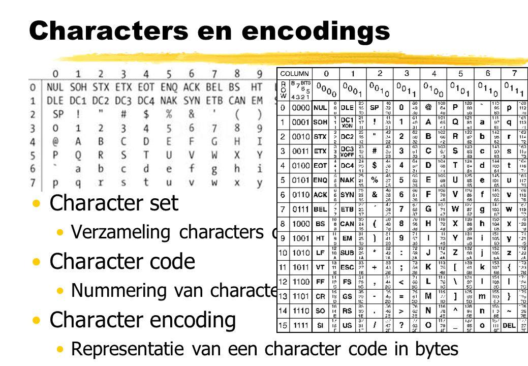 Characters en encodings Character Abstract teken, gebruikt in een taal Glyph Fysieke representatie van een character Character set Verzameling charact