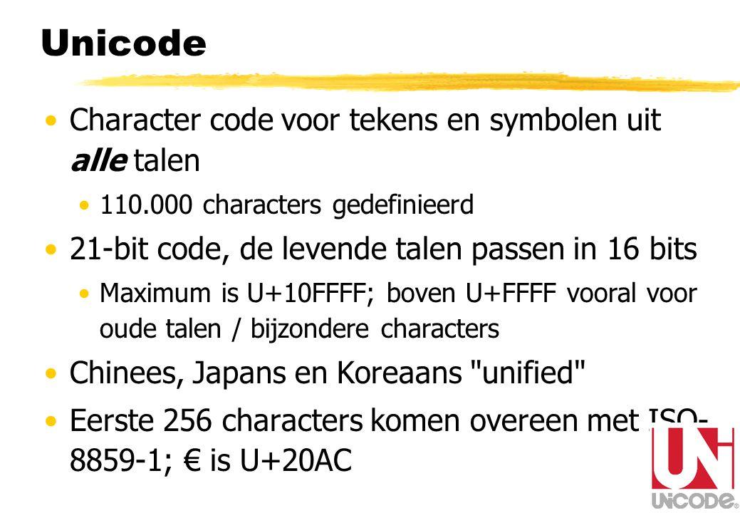 Unicode Character code voor tekens en symbolen uit alle talen 110.000 characters gedefinieerd 21-bit code, de levende talen passen in 16 bits Maximum