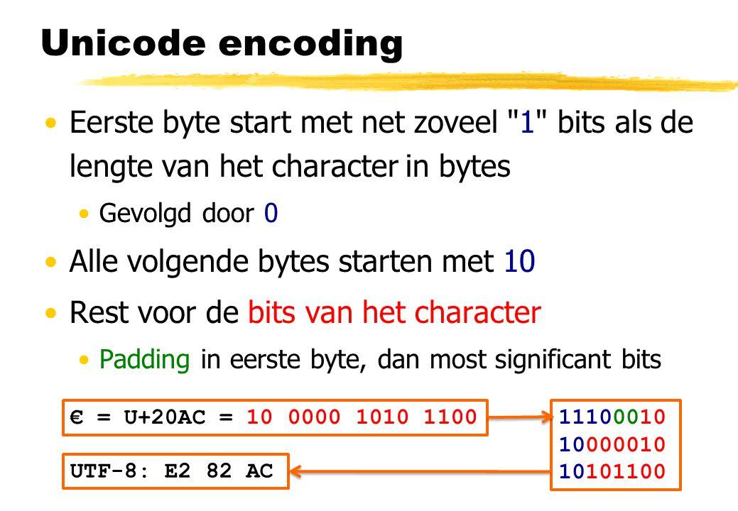 Unicode encoding Eerste byte start met net zoveel