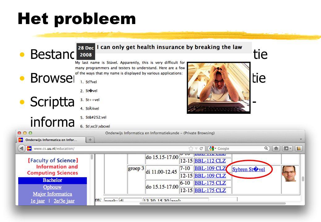 Het probleem Bestandsformaat versus meta-informatie Browser / server versus meta-informatie Scripttaal versus browser versus meta- informatie Database
