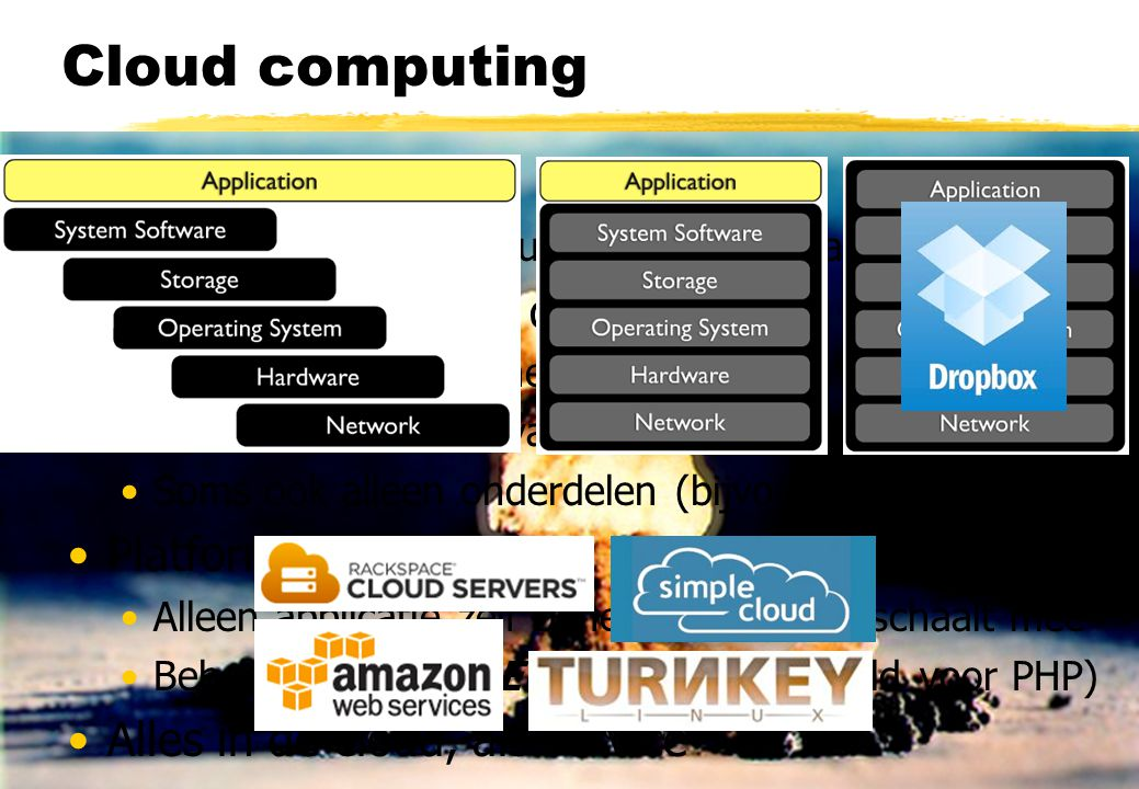 Cloud computing The cloud = PaaS + IaaS + SaaS Platform, Infrastructure en Software as a Service (Virtuele) servers in de cloud Zelf inrichten en behe