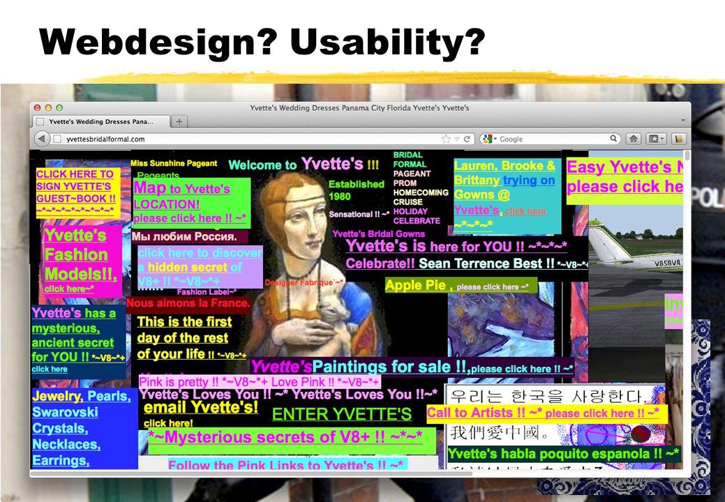 Webdesign? Usability? Komt aan bod bij andere vakken Webdesign (INFOB1WD) Ontwerpen van interactieve systemen (INFOB1OIS) Wel goed om naar een paar as