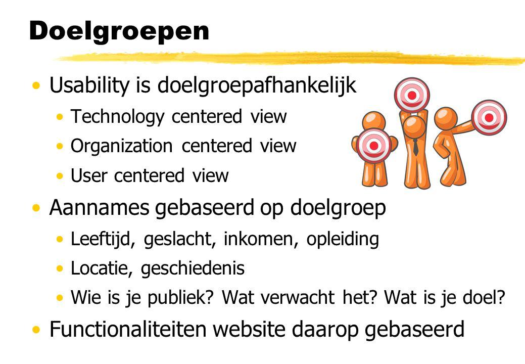 Doelgroepen Usability is doelgroepafhankelijk Technology centered view Organization centered view User centered view Aannames gebaseerd op doelgroep L