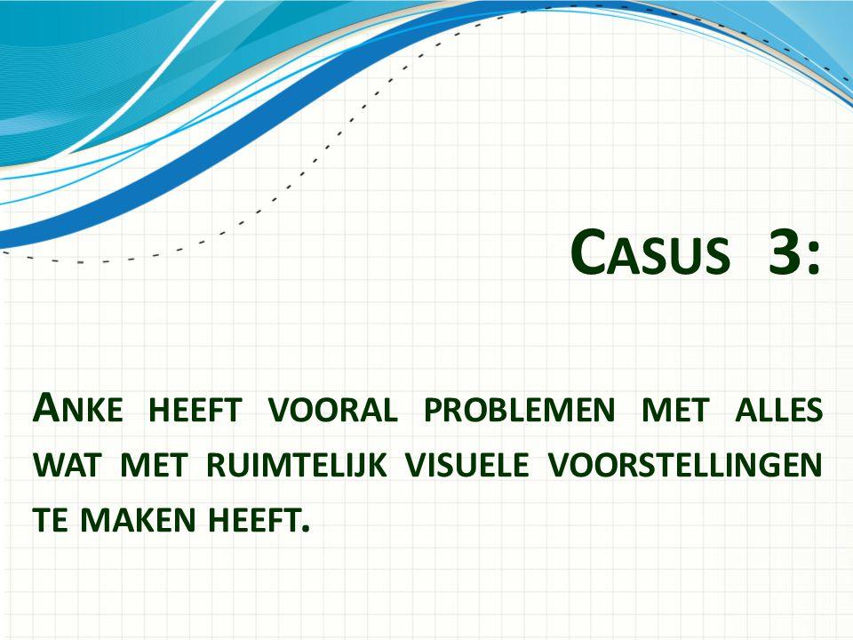 C ASUS 3: A NKE HEEFT VOORAL PROBLEMEN MET ALLES WAT MET RUIMTELIJK VISUELE VOORSTELLINGEN TE MAKEN HEEFT.