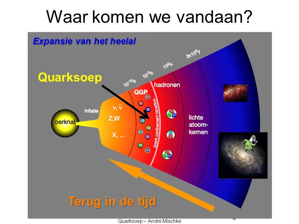 Quarksoep in het lab André Mischke Universiteit Utrecht and Nikhef Amsterdam Bessensap – 4 juni 2012 Wat voor soort materie was het allervroegste heelal.