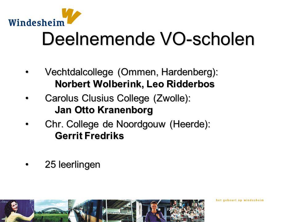 Deelnemende VO-scholen Vechtdalcollege (Ommen, Hardenberg): Norbert Wolberink, Leo RidderbosVechtdalcollege (Ommen, Hardenberg): Norbert Wolberink, Leo Ridderbos Carolus Clusius College (Zwolle): Jan Otto KranenborgCarolus Clusius College (Zwolle): Jan Otto Kranenborg Chr.