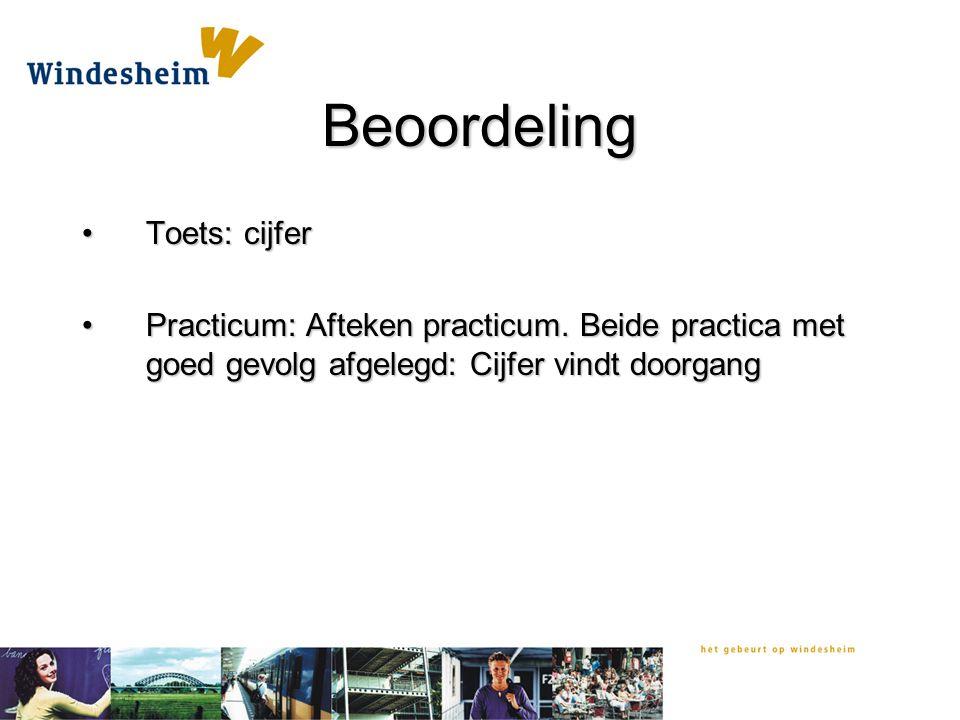 Beoordeling Toets: cijferToets: cijfer Practicum: Afteken practicum.