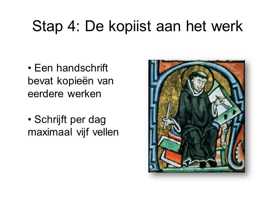 Stap 4: De kopiist aan het werk Een handschrift bevat kopieën van eerdere werken Schrijft per dag maximaal vijf vellen
