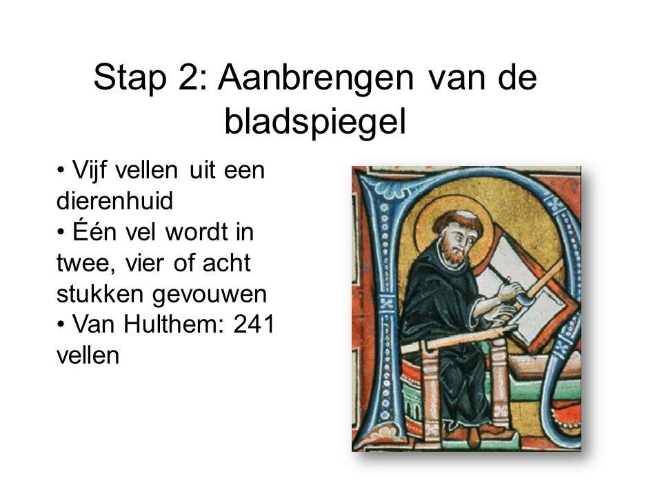 Stap 2: Aanbrengen van de bladspiegel Vijf vellen uit een dierenhuid Één vel wordt in twee, vier of acht stukken gevouwen Van Hulthem: 241 vellen