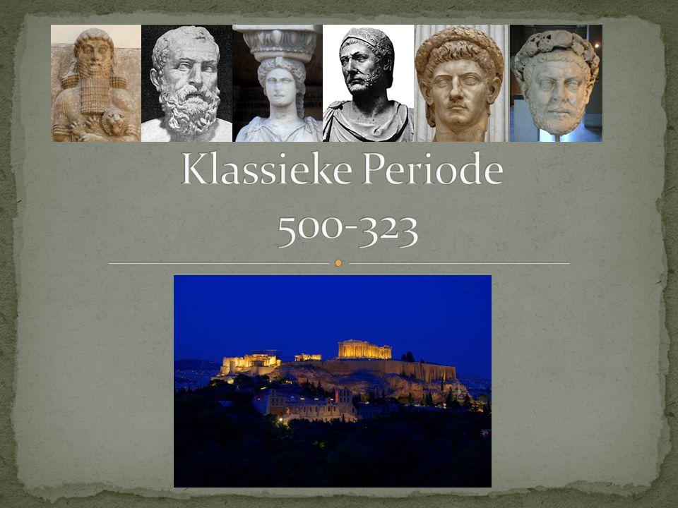 - Sparta versus Perzië (401-387) - Koningsvrede (386) - Slag bij Leuctra (371) - Slag bij Mantinea (362) - Troonsbestijging Philippus II van Macedonië (359) - Slag bij Chaeronea (338) - Dood Philippus II en troonsbestijging Alexander (336)