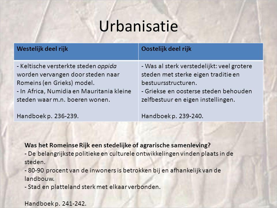 Urbanisatie Westelijk deel rijkOostelijk deel rijk - Keltische versterkte steden oppida worden vervangen door steden naar Romeins (en Grieks) model.