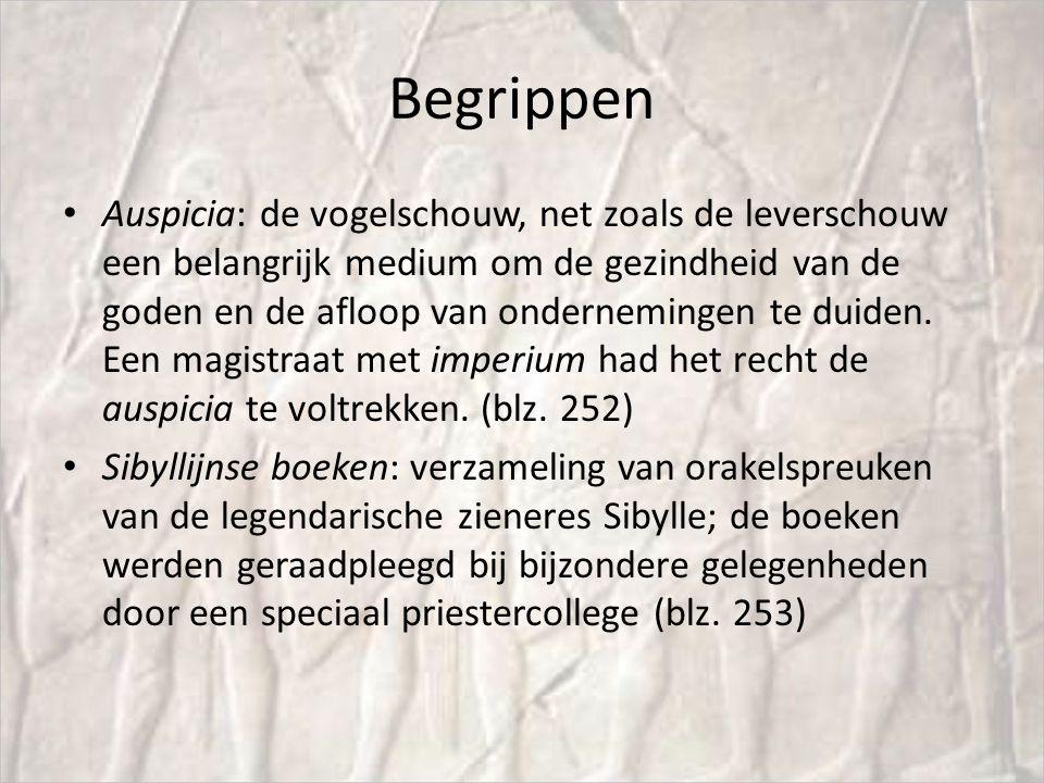 Begrippen Auspicia: de vogelschouw, net zoals de leverschouw een belangrijk medium om de gezindheid van de goden en de afloop van ondernemingen te duiden.